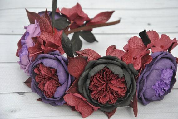 Dark flower crown Halloween headband black red roses Dark  351467366f1
