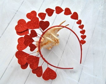 Valentines headpiece red harts headdress Queen of hearts headband crown