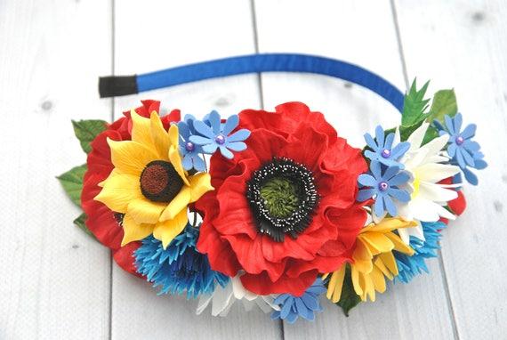 Fascia di rosso papavero copricapo messicano fiore corona per copricapo di ragazze donna giallo girasoli fiordalisi blu