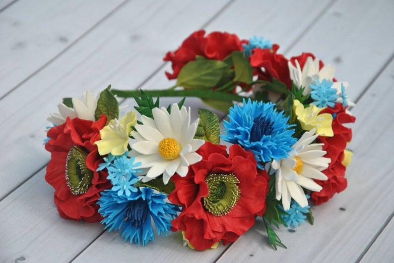 Day of the Dead flower crown Fiesta headpiece Mexican Festival Crown Red poppy floral crown Ukrainian hair piece daisy cornflowers