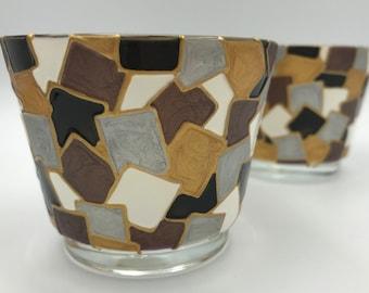 Mosaic Style Tealight Holders (set of 2)
