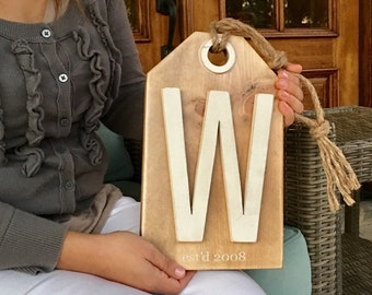 Large Wooden Tag Farmhouse Decor Family Sign: Personalized Name or Date, Housewarming, Wedding Gift, Porch Decor