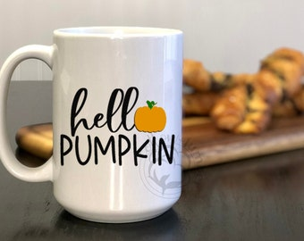 Hello Pumpkin Mug, Dishwasher & Microwave Safe, Fall, Winter, 15 oz Premium Ceramic Mug