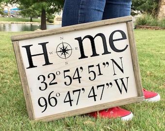 Compass Rose Home Sign: Latitude and Longitude (GPS) Coordinates, Housewarming, Dorm Decor, Wedding Gift