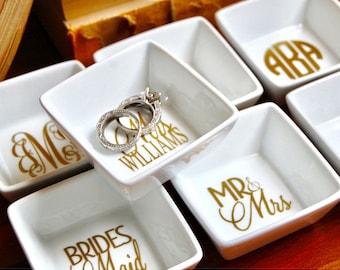 Monogrammed Ring Dish, Bridal Party Gift, Wedding Gift, Bridal Shower, Anniversary