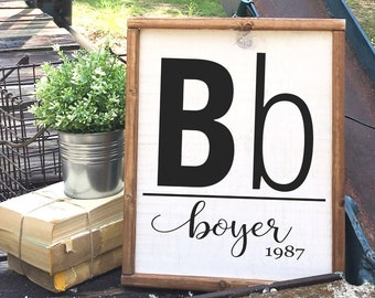 Farmhouse Decor Family Sign: Personalized Name and Date, Housewarming, Wedding Gift, Porch Decor