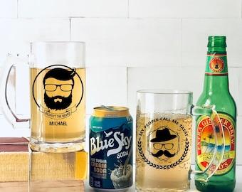 Personalized Brew Master Stein, Father's Day, Beards, Bar Glasses, 16 oz Premium Glass Stein