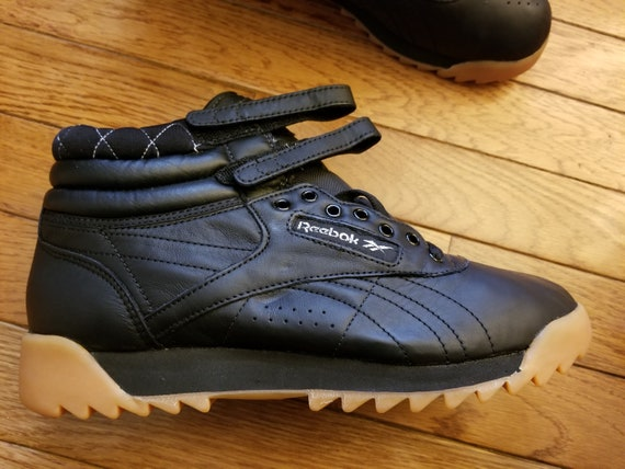 kupować nowe Nowa lista ładne buty Reebok Womens Freestyle Hi Black / Met Silver/Gum Ripple vintage / NEW,  Size 8.5 M