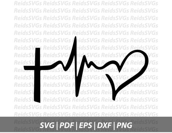Cross Heartbeat Svg Cricut Silhouette Cutting Machines Etsy