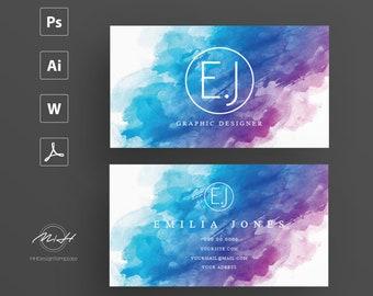 Wattercolor business card template / creative / card design / morden business card / calling card