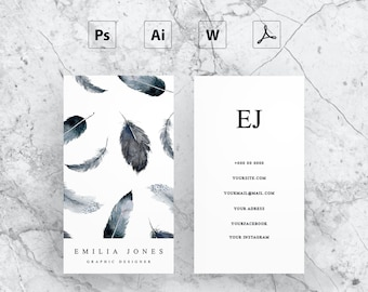 Watercolor feather business card template / creative / card design / morden business card / calling card