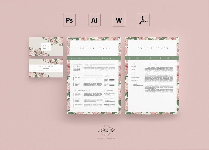 Roses Floral Resume Template Card CV
