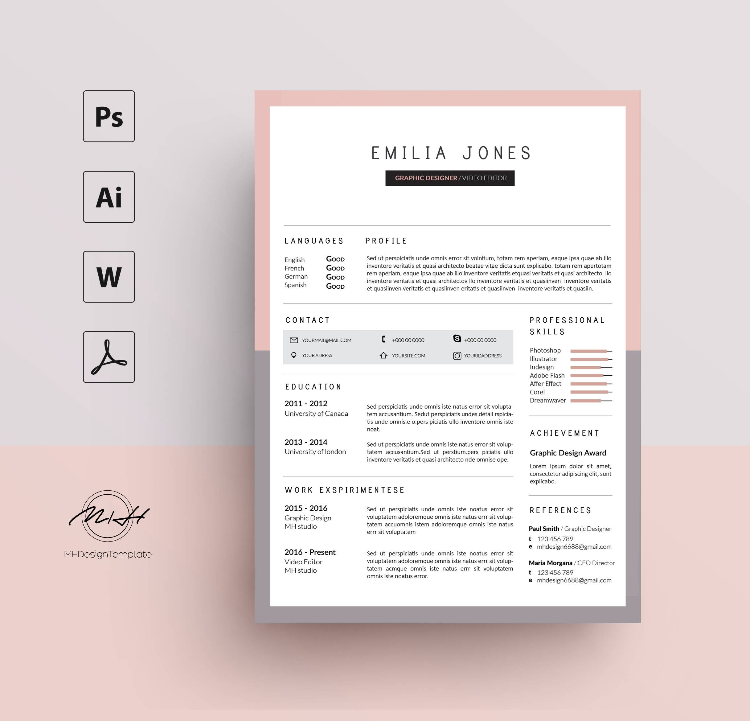 rose gris resume template    mod u00e8le de cv    gratuit lettre