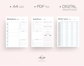 Daily Planner/ Printable Planner/ Daily Agenda/ Weekly Agenda/ Weekly Planner/ Daily Organizer/ Daily To Do List/ Weekly To Do List