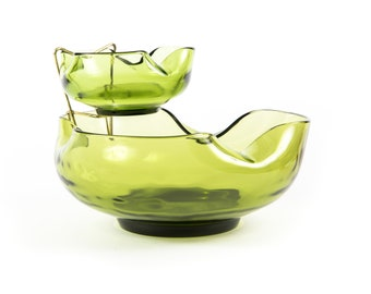 Anchor Hocking Avocado Green Chip and Dip Set | 1960s, midcentury, mod, groovy