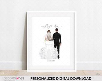 DIGITAL FILE | Bride and Groom Custom Illustration | Personalized Wedding Gift | Personalized Custom Print | Wedding Favor