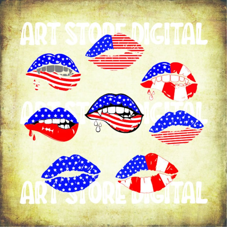 Buy 3 Get 1 Free 8 Lips 4th Of July Svg Patriotic Lips Svg Etsy