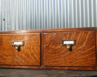 Vintage Oak Two Drawer Index / Library Card/ Filing Cabinet