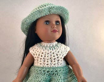 Clothes for 18-inch Dolls: Dress and Hat in mint green and creamy off white, crochet, American Made, Made in America