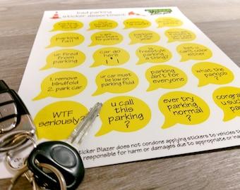 Bad Parking Sticker Kit