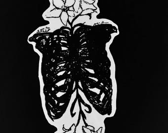Ribs and flowers sticker