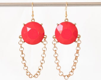 Red Drop Earrings / Red and Gold Earrings / Red Statement Earrings / Red Dangle Earrings / Big Earrings / Upcycled Jewellery