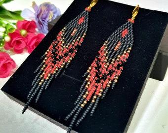 4.5 inches long  earrings/ Beaded earrings / Seed Bead Fringe earrings / Boho earrings Red, Matt Black and gold color