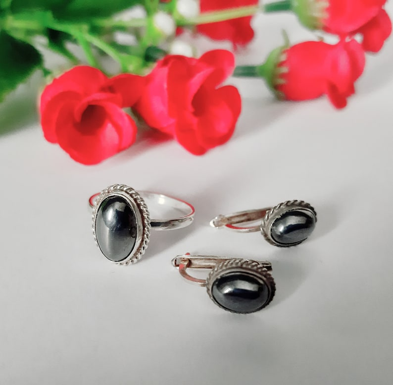 Vintage set jewelry sterling silver 925 with  hematite stone Vintage earrings  Vintage ring 6 size USSR jewelry
