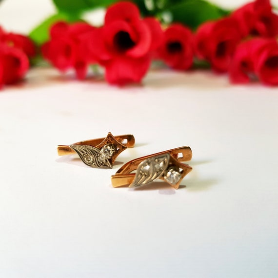 Vintage Russian Gold Earrings with Diamonds Rose Gold Earrings 14 KT 585 Gold Earrings 1970 USSR jewelry Luxury gift for women and girl