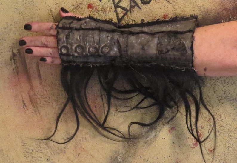HUMAN HAIR sold by Single Glove or Pair Apocalyptic Fingerless Gloves very dark BEiGE with BLACK Fallout Gloves for Women