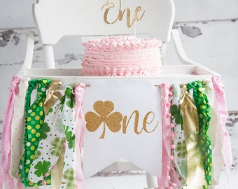 St Patricks Day 1st Birthday Party Banner First Highchair One Year Old Decor HC047