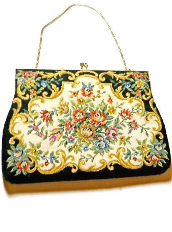 Vintage Delill Purse Tapestry Evening Bag 1950s