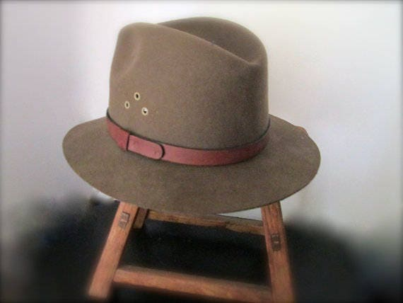 c00947d78ec Vintage Khaki Brown Fedora Hat Wool Felt Country Gentleman
