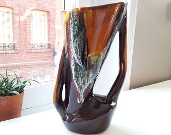 French vintage 70's signed Vallauris vase
