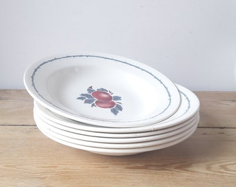 Vintage French/Hollow plates/lot of 6/faience of Saint Amand/ L'Amandinoise/red and blue quince decoration/France 1950
