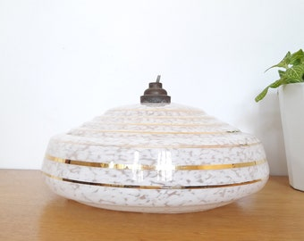french vintage wall art deco lines, gold and white Clichy glass 30/40/french art deco ceiling lamp in Clichy glass 1930
