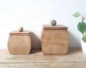 pair of vintage boxes boxes in raw oak French vintage deco boho