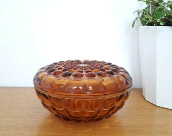 French vintage candy box in smoked glass, beaded srface years 50/frebch vintage smoked glass candy box of the 50's