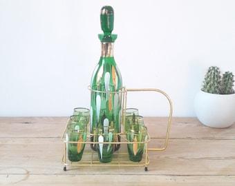 Francais vintage/Rare Service à liqueur/verre vert et or Art déco/carafe et 8 verres/support doré/années 1950
