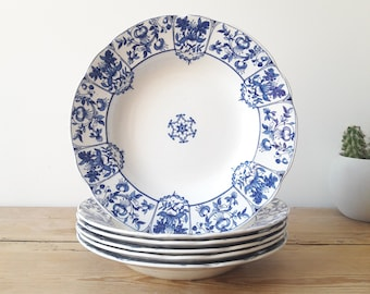 Vintage English/Daventry Hollow Plates/Royal Porcelain/Blue & White/Royal Ridgways Daventry/Victorian 1890/Lot of 6