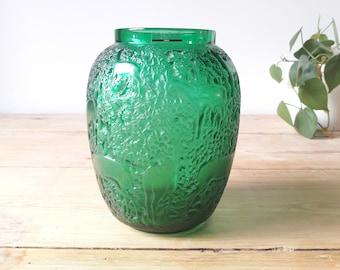 """Lalique Art Deco vintage/Vase Lampe décor """"Biche""""/glass and crystal green presesé/signed René Lalique/France 1932"""