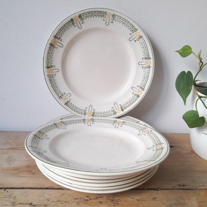 Longwy old lot of 8 flat plateslongwy porcelainLongjumeau modelFrance 1910