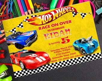 Hot Wheels invitation- Hot wheels birthday Invitation- Hot Wheels Printable-Hot Wheels Card