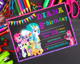 My Little pony Invitation- My Little pony Birthday Invitation My Little pony Party  My Little Pony Card