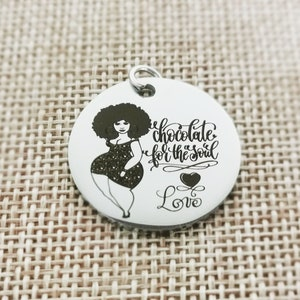 5pcs Afro Woman svg Nubian Queen Diva Afro Hair Beautiful African,Stainless Steel Charms High Polish Mirror Surface Pendant,P-L0219