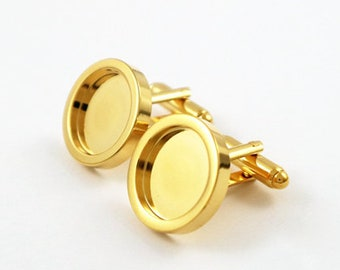 2pcs(1 pairs)Inside the 15mm white steel golden gun black and black cyan cufflinks with the French cuff links,A1741-1