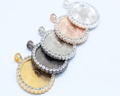5 Round Rhinestones Pendant Kits - 30mm Pendant Trays with Matching Glass Cabochons -5 Colors,A2639