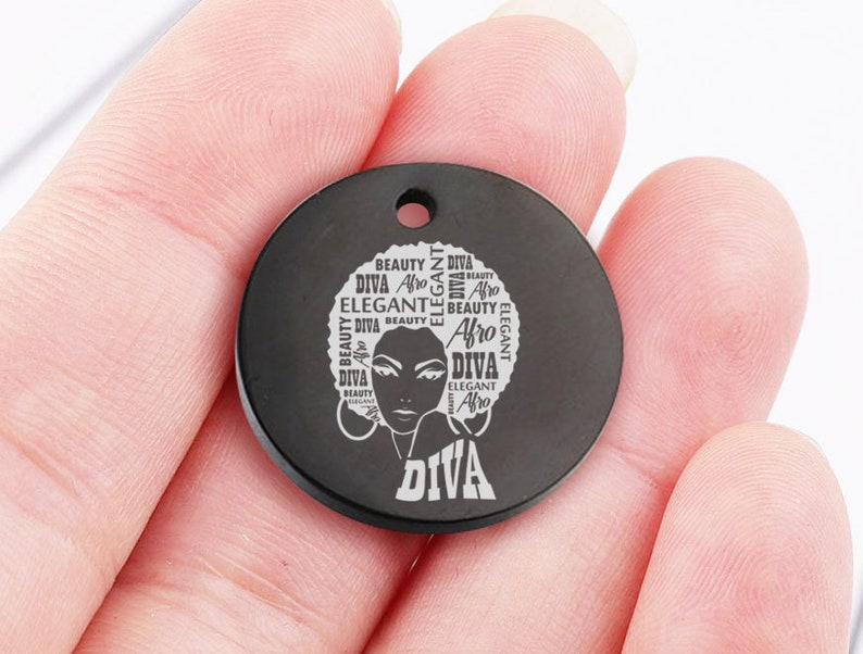 5pcs Afro Queen SVG Black Woman Nubian Classy Lady,Stainless Steel Charms High Polish Mirror Surface Pendant,P-L0204