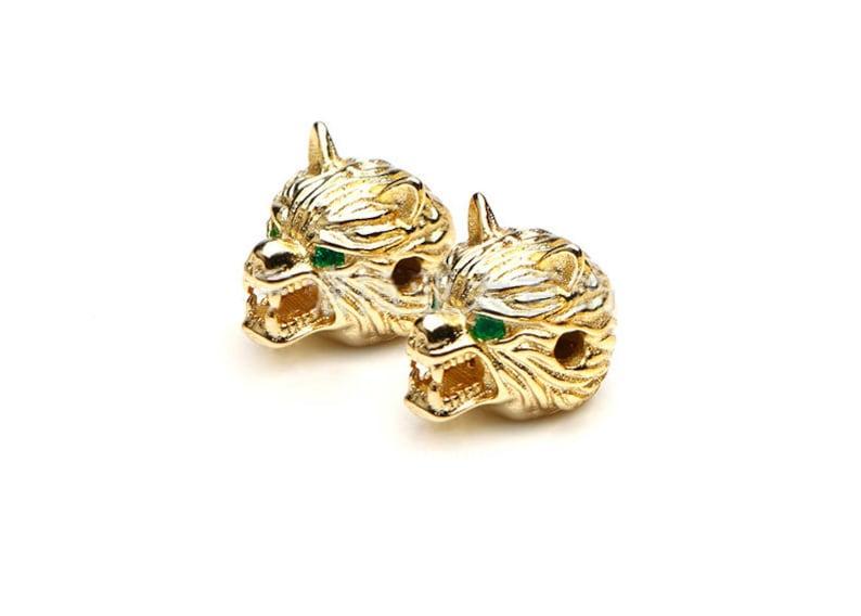 Crystal Cubic Zirconia Bead,White GoldGoldRose GoldGun black,A2943 51050100Pcs,Green Eyed Wolf Head Beads,CZ Micro Pave Bead