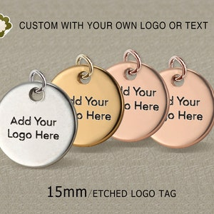 Size in 6mm8mm 925 Sterling Silver Custom Logo Tag Laser Engraved Rhodium Plated Round Jewelry Tag Disc Sequins Pkg of 50100 PCS